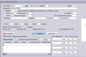 Introducción de medidas en la venta en los programas de facturación de Futuro Informática
