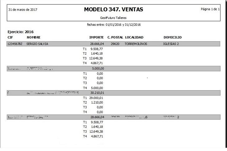Informe para el modelo 347 en el software de gestion