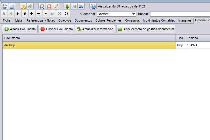 Software de gestión. Añadir documentos